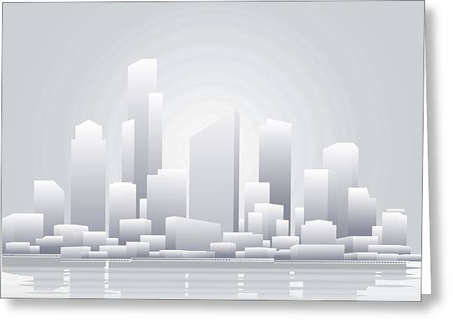 Abstract Grey City Background Greeting Card by Christos Georghiou