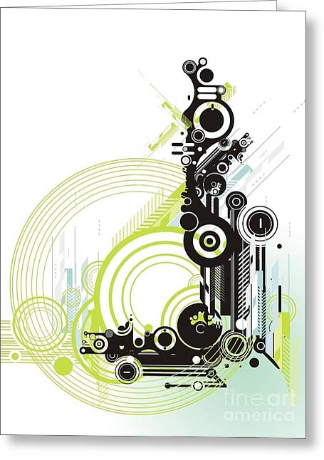 Abstract  Grunge & Tech Background Greeting Card