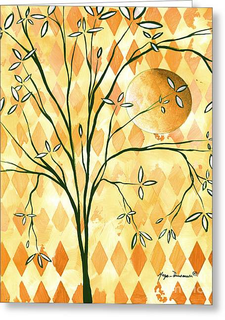 Abstract Harlequin Diamond Pattern Painting Original Landscape Art Moon Tree By Megan Duncanson Greeting Card by Megan Duncanson