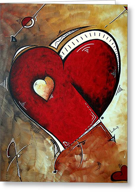 Abstract Heart Original Painting Valentines Day Heart Beat By Madart Greeting Card by Megan Duncanson