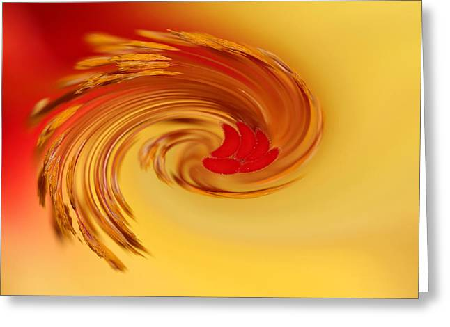Abstract Swirl Hibiscus Flower Greeting Card by Debbie Oppermann