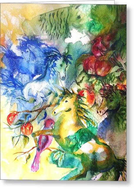 Abstract Horses Greeting Card