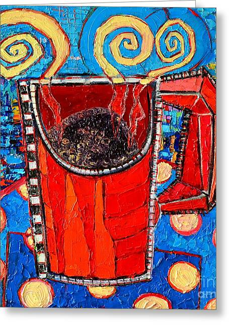 Abstract Hot Coffee In Red Mug Greeting Card