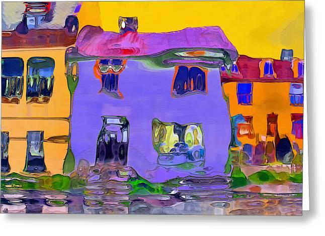 Abstract Houses Greeting Card by Nina Bradica
