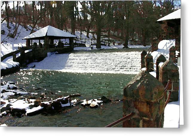 Abstract - Illicks Mill Waterfall Bethlehem Pa Greeting Card by Jacqueline M Lewis