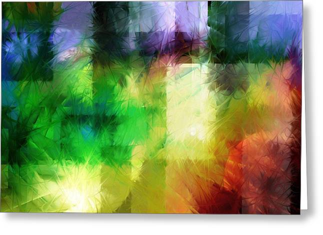 Greeting Card featuring the painting Abstract In Primary by Curtiss Shaffer