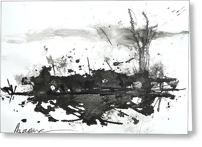 Modern Abstract Black Ink Art Greeting Card by Patricia Awapara