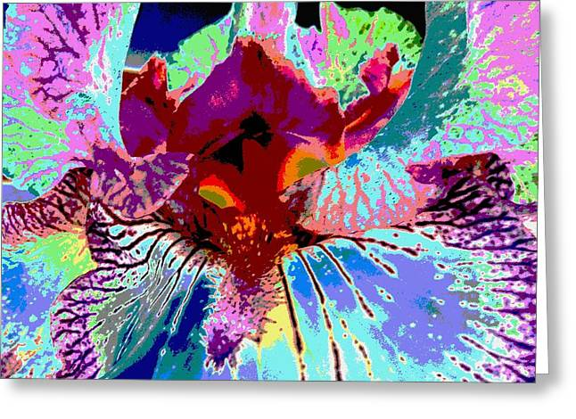 Greeting Card featuring the photograph Abstract Iris by Sally Simon
