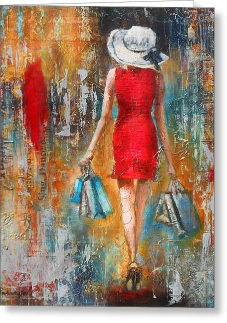 Abstract Lady 6 Greeting Card by Susan Goh