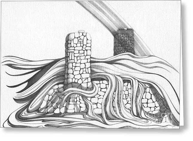 Abstract Landscape Art Black And White Home Double Jeopardy By Romi Greeting Card
