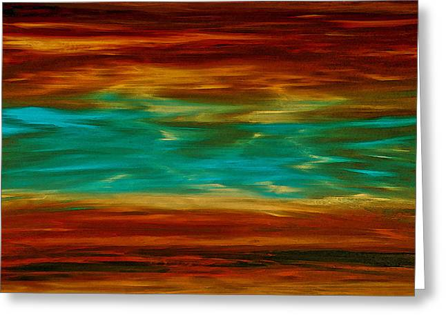 Abstract Landscape Art - Fire Over Copper Lake - By Sharon Cummings Greeting Card