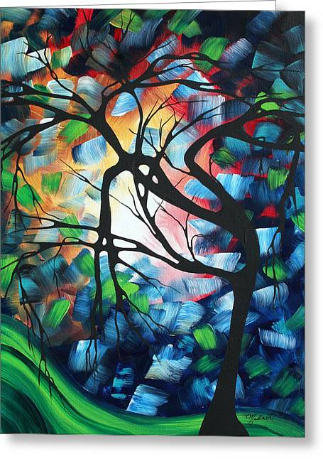 Abstract Landscape Art Original Colorful Painting Tree Maze By Madart Greeting Card