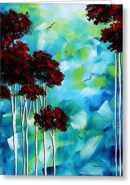 Abstract Landscape Art Original Tree And Moon Painting Blue Moon By Madart Greeting Card