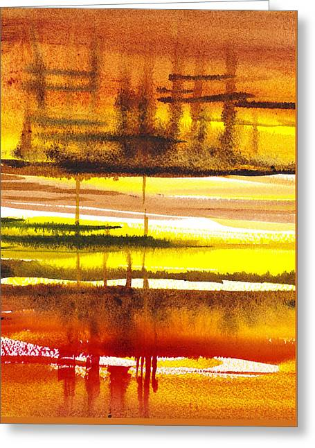 Abstract Landscape Lost Reflections Greeting Card by Irina Sztukowski