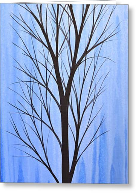 Abstract Landscape Original Trees Art Print Painting ... Twilight Trees #4 Greeting Card by Amy Giacomelli