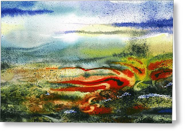 Abstract Landscape Red River Greeting Card by Irina Sztukowski