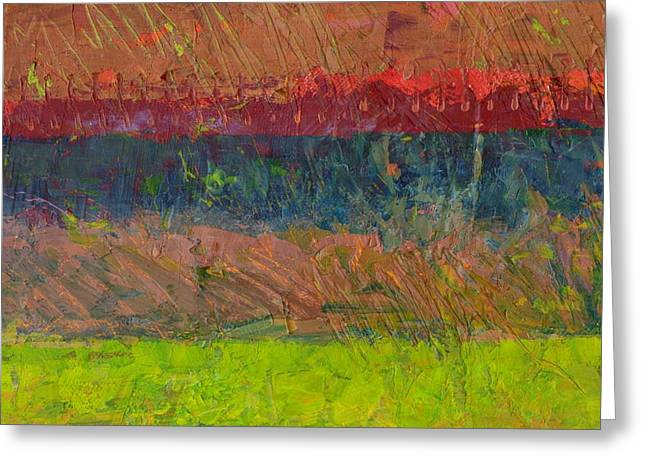 Abstract Landscape Series - Lake And Hills Greeting Card