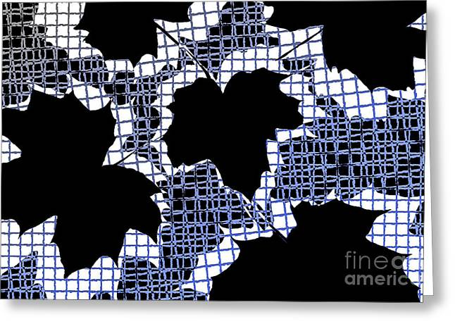 Abstract Leaf Pattern - Black White Blue Greeting Card by Natalie Kinnear