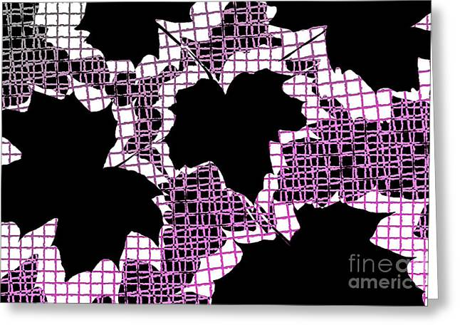 Abstract Leaf Pattern - Black White Pink Greeting Card by Natalie Kinnear