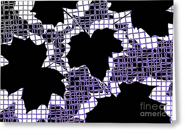 Abstract Leaf Pattern - Black White Purple Greeting Card by Natalie Kinnear