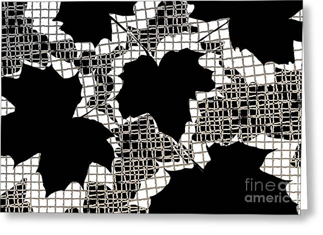 Abstract Leaf Pattern - Black White Sepia Greeting Card