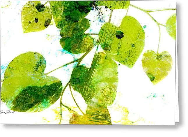 Abstract Leaves Green And White  Greeting Card by Ann Powell