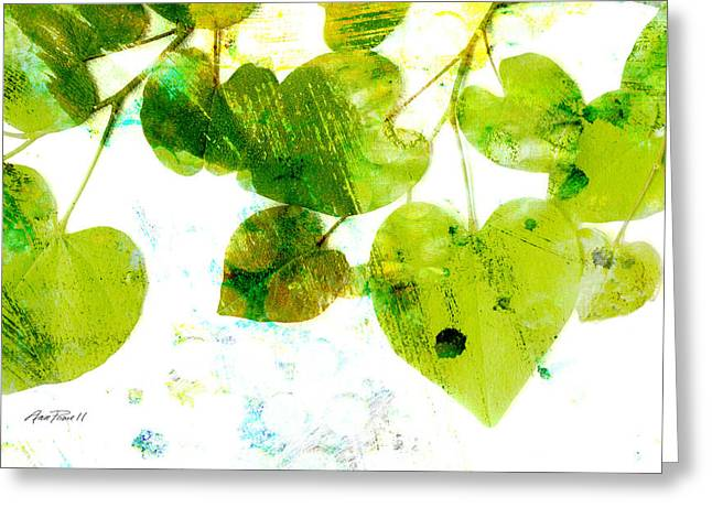 Abstract Leaves II Green And White  Greeting Card by Ann Powell