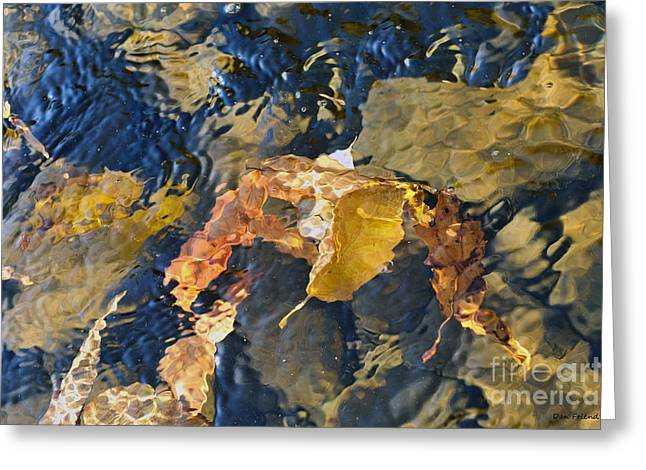 Abstract Leaves In Water Greeting Card by Dan Friend