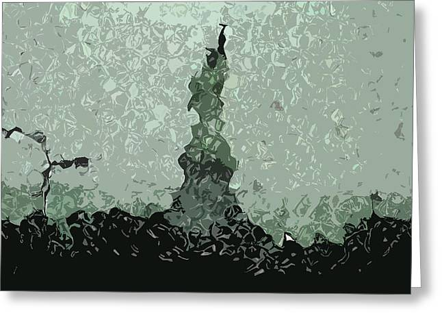 Abstract Liberty On 9/11 Greeting Card by Kosior