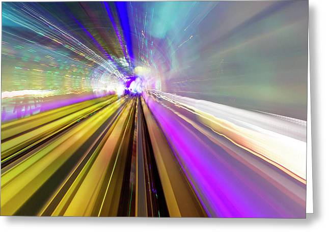 Abstract Light Trails Of Underground Greeting Card