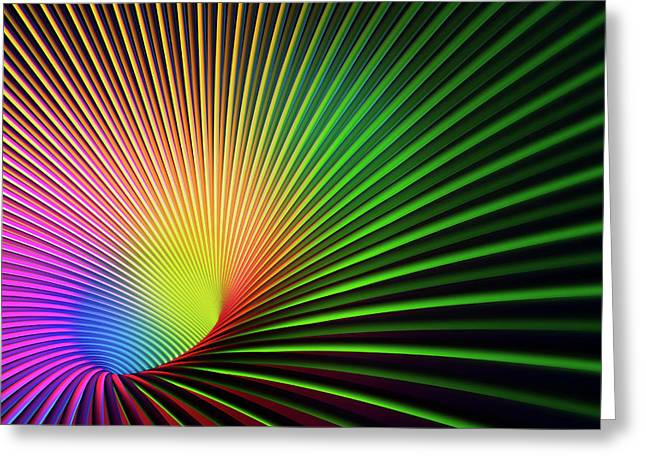 Abstract Lines Vanishing Into Glowing Greeting Card