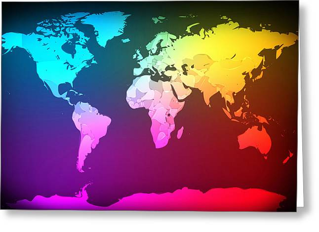 Abstract Map Of The World Greeting Card by Michael Tompsett