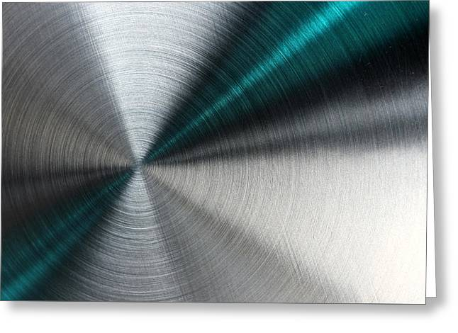 Abstract Metallic Texture With Blue Rays. Greeting Card