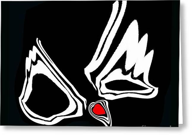 Minimalism Art Black White Red Heart No.34. Greeting Card