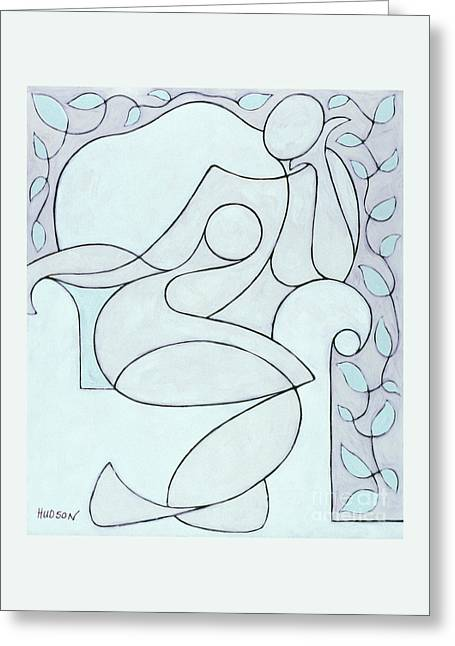 abstract modern art - Nude with Lines and Vines Greeting Card