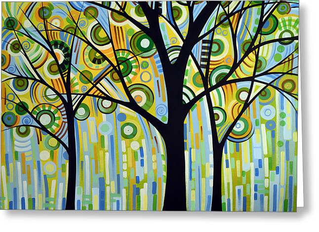 Abstract Modern Tree Landscape Spring Rain By Amy Giacomelli Greeting Card by Amy Giacomelli
