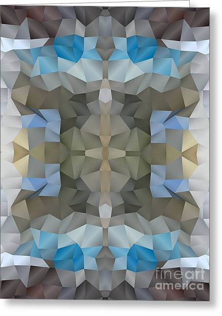 Abstract Mosaic In Cool Silver Blue Brown Greeting Card
