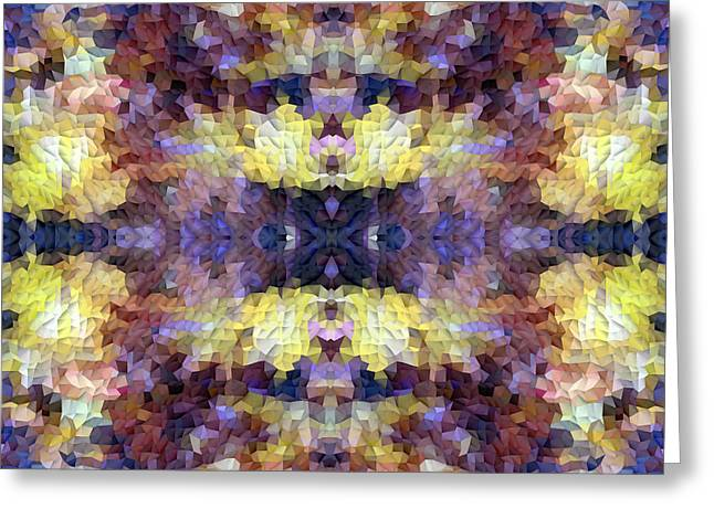 Abstract Mosaic In Yellow Blue Purple Greeting Card