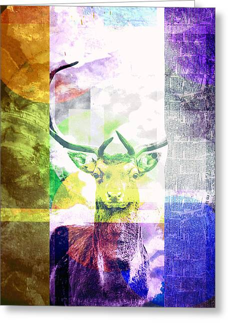 Abstract Nature Deer Portrait Greeting Card