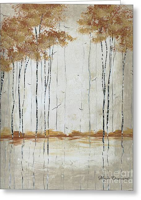 Abstract Neutral Landscape Pond Reflection Painting Mystified Dreams II By Megan Ducanson Greeting Card by Megan Duncanson