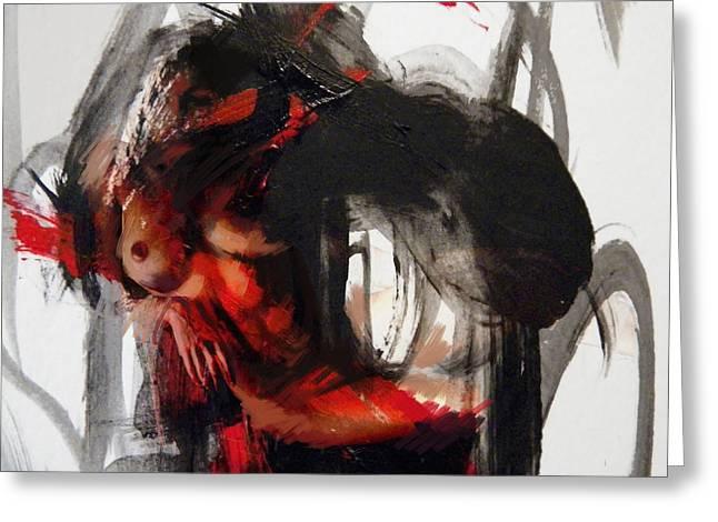 Abstract Nude 16 Greeting Card by Mahnoor Shah