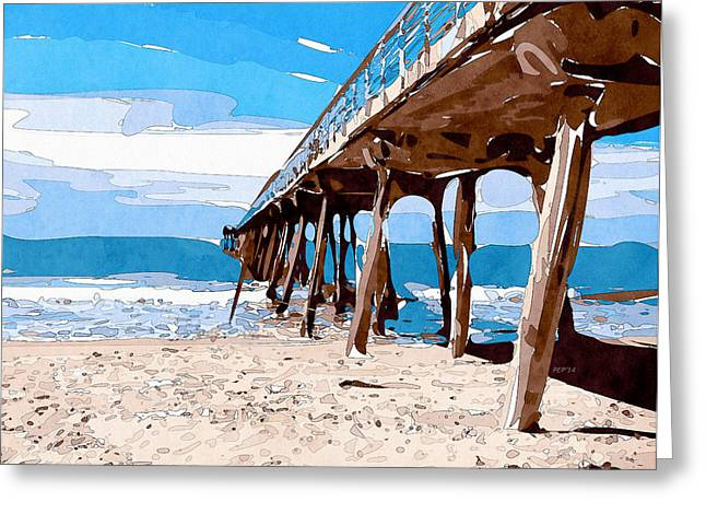 Abstract Ocean Pier Greeting Card by Phil Perkins