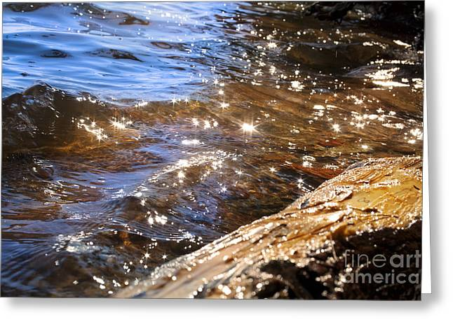 Abstract Of A Lake Shore Greeting Card by Jonathan Welch