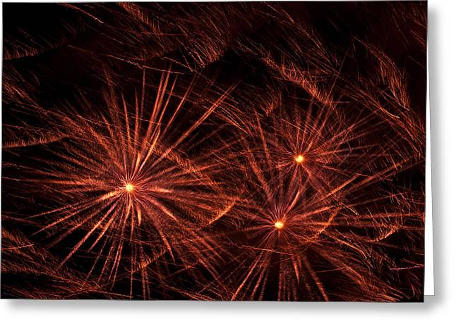 Abstract Of Fireworks On Black Greeting Card by Jess Kraft