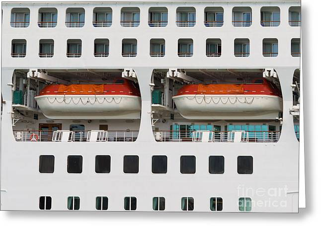 Abstract Of Lifeboats On A Large Cruise Ship Greeting Card by Stephan Pietzko