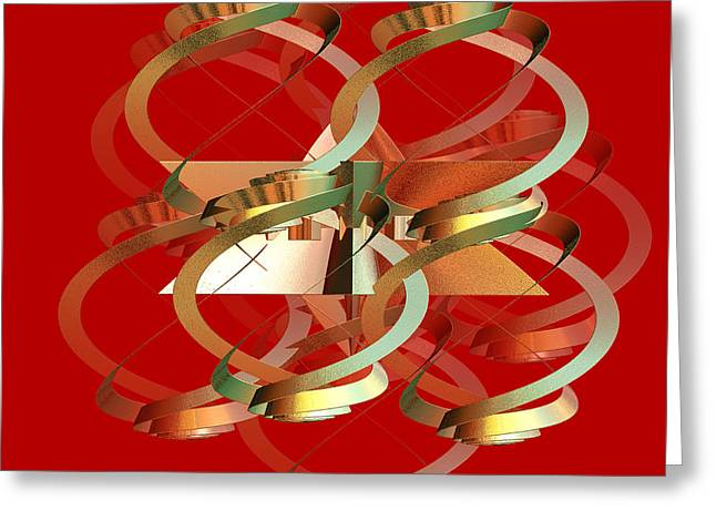Abstract On Red Series 4 Greeting Card by Linda Phelps
