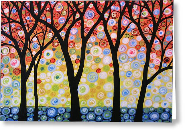 Abstract Original Modern Trees Landscape Print Painting ... Joyous Sky Greeting Card by Amy Giacomelli