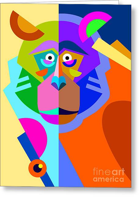 Abstract Original Monkey Drawing In Greeting Card