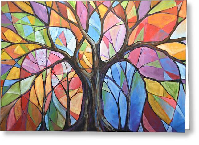 Greeting Card featuring the painting Abstract Original Tree Art Painting ... Colors Of The Wind by Amy Giacomelli