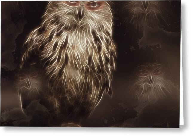 Abstract Owl Digital Artwork Greeting Card